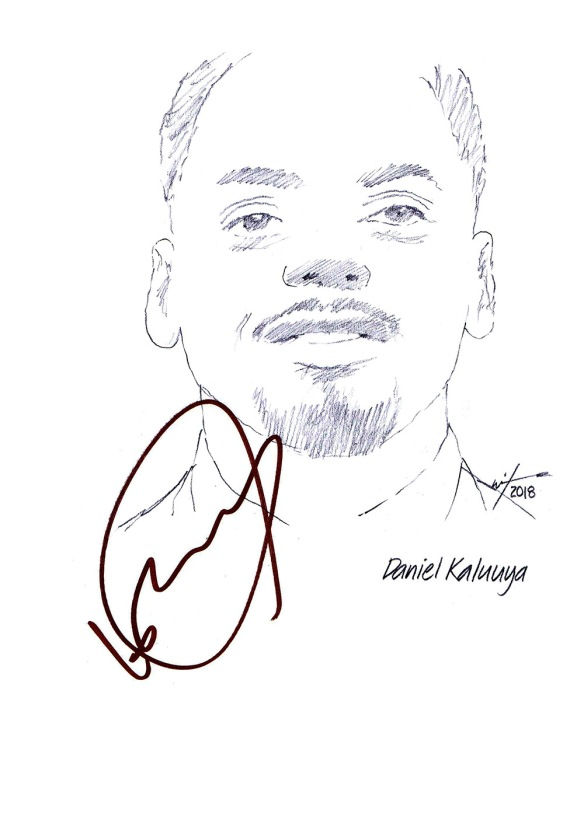Autographed drawing of actor Daniel Kaluuya