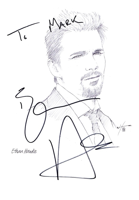 Autographed drawing of actor Ethan Hawke
