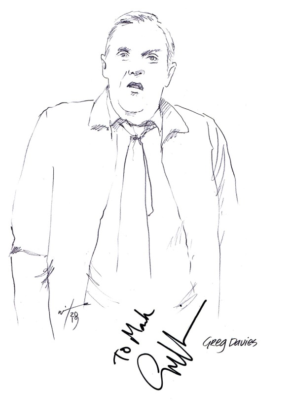 Autographed drawing of comedian Greg Davies