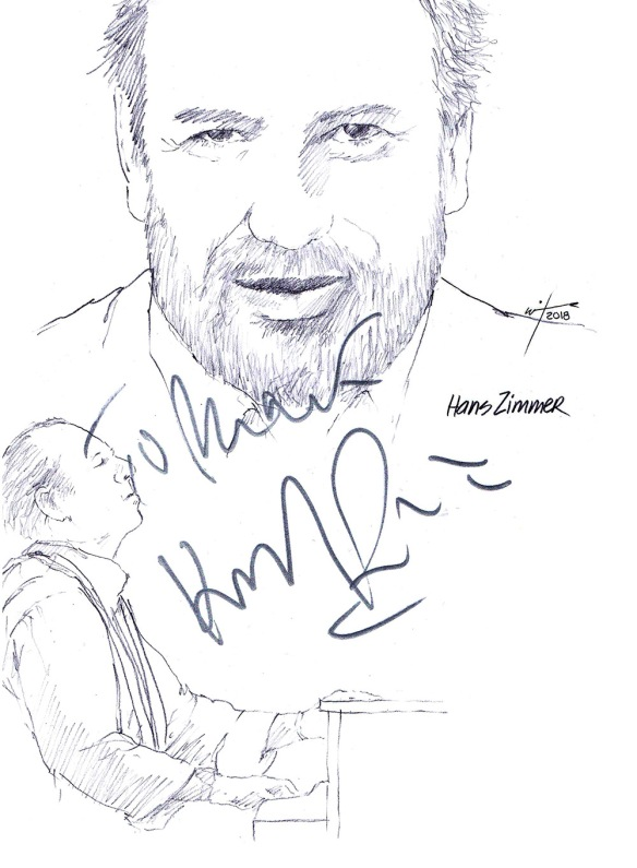 Autographed drawing of composer Hans Zimmer