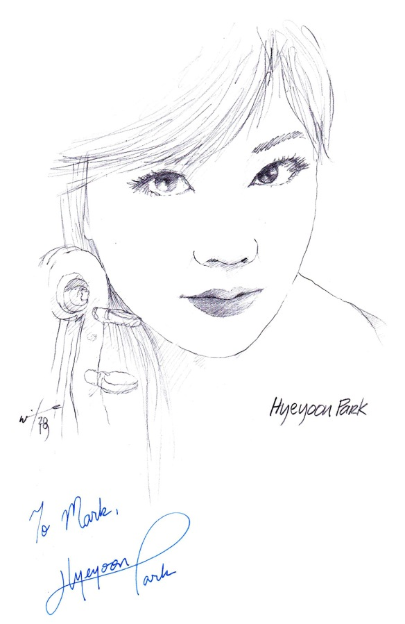Autographed drawing of violinist Hyeyoon Park