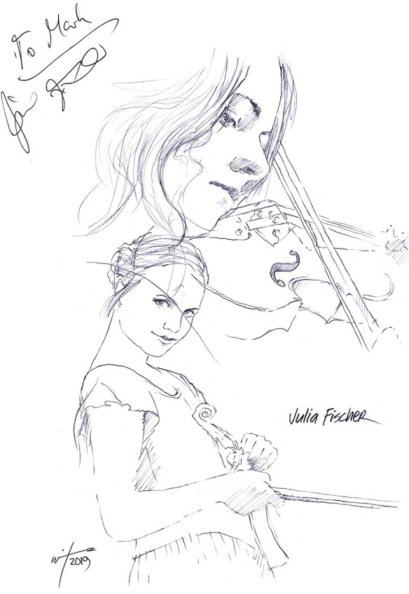autographed drawing of violinist Julia Fischer