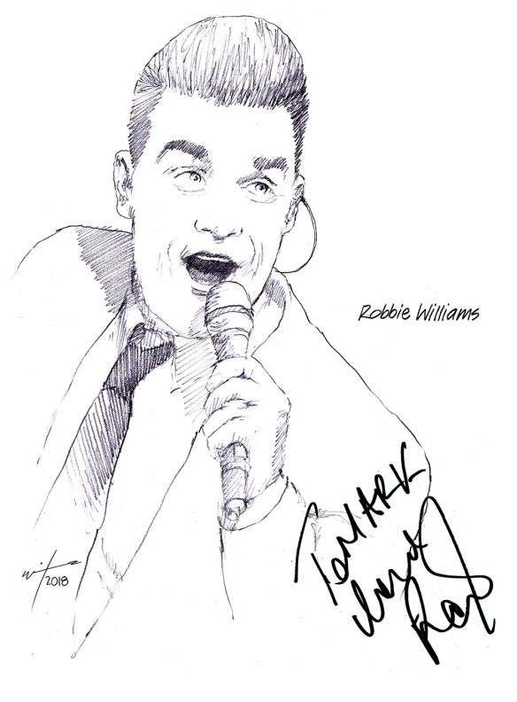 Autographed drawing of singer Robbie Williams
