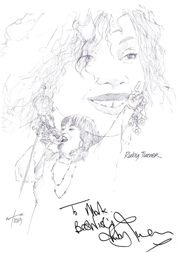 Autographed drawing of singer Ruby Turner