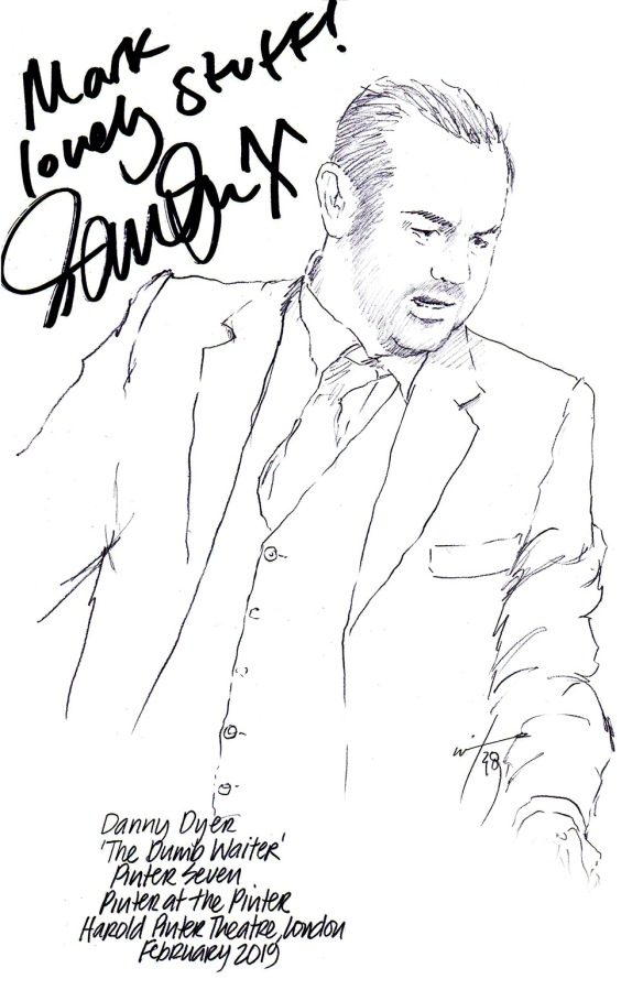 Autographed drawing of Danny Dyer in The Dumb Waiter at the Harold Pinter Theatre on London's West End