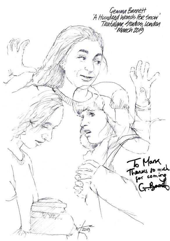 Autographed drawing of Gemma Barnett in A Hundred Words For Snow at the Trafalgar Studios on London's West End