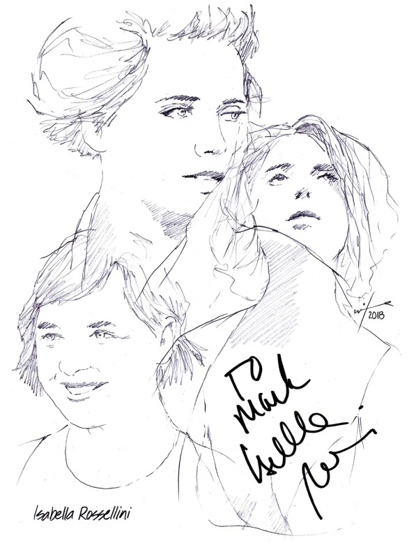 Autographed drawing of actress Isabella Rossellini