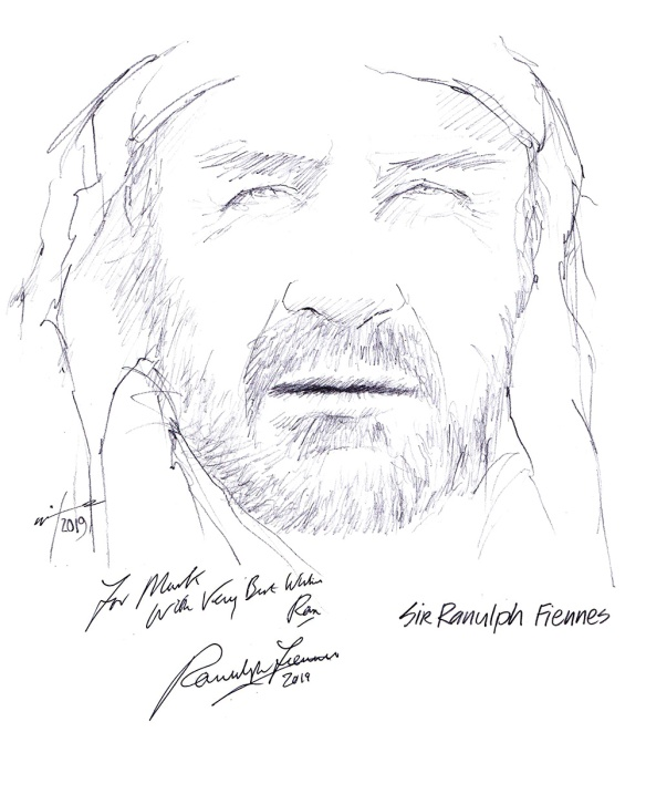 Autographed drawing of Sir Ranulph Fiennes