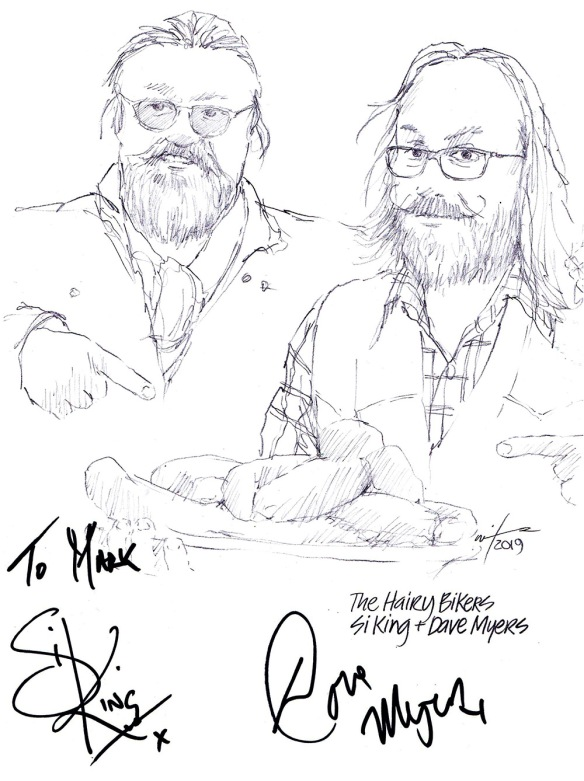 Autographed drawing of Si King and Dave Myers The Hairy Bikers