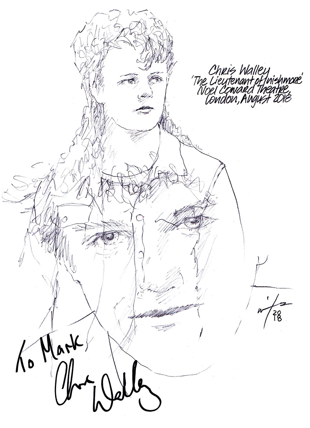 Autographed drawing of Chris Walley in The Lieutenant of Inishmore at the Noel Coward Theatre on London's West End