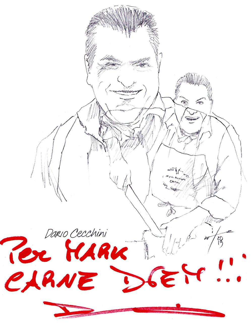 Autographed drawing of Chef Dario Cecchini