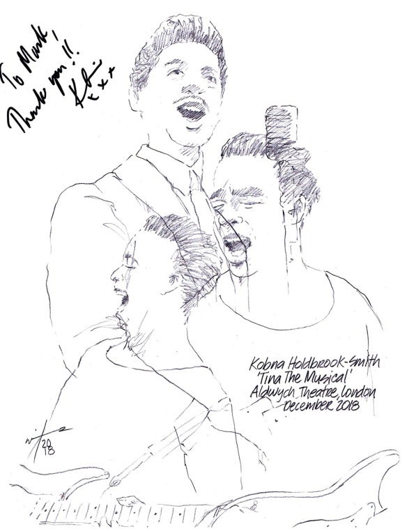 Autographed drawing of Kobna Holdbrook-Smith in Tina The Musical at the Aldwych Theatre on London's West End