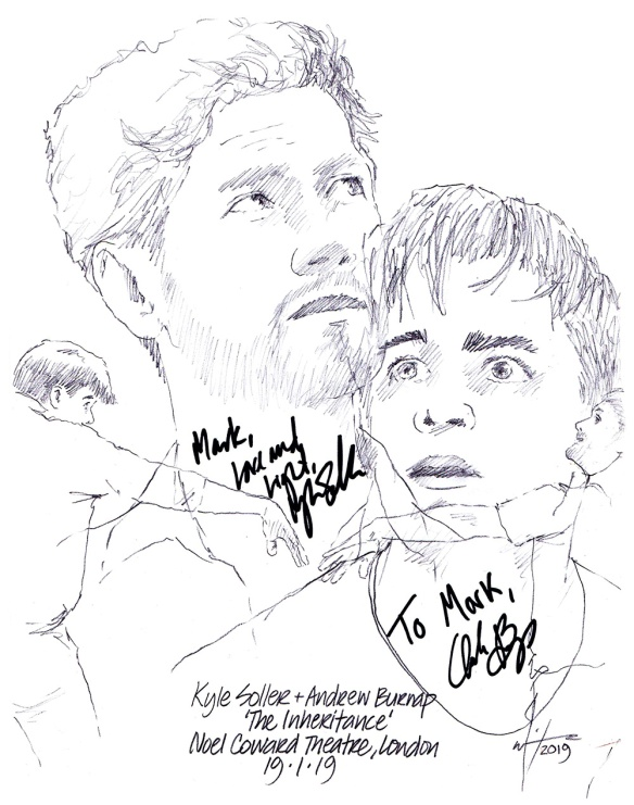 Autographed drawing of Kyle SOller and Andrew Burnap in The Inheritance at the Noel Coward Theatre on London's West End