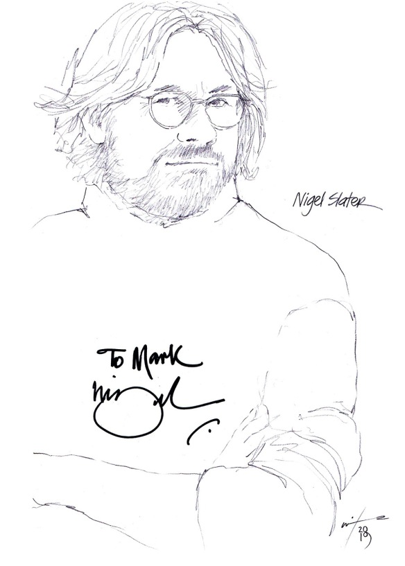 Autographed drawing of Chef Nigel Slater
