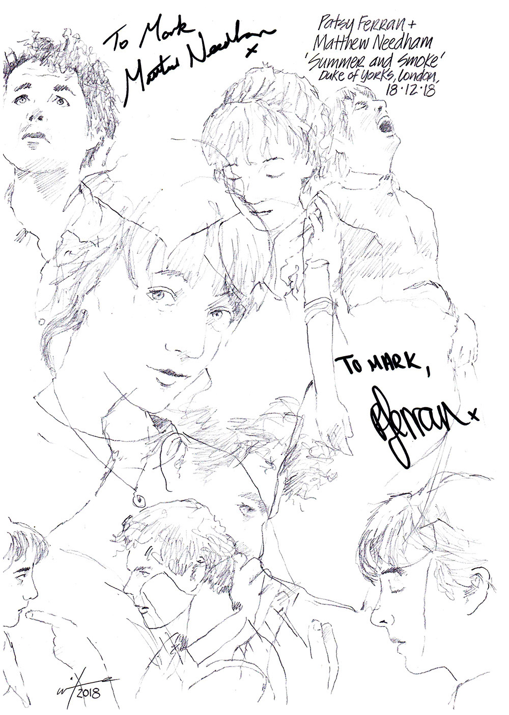 Autographed drawing of Patsy Ferran and Matthew Needham in Summer and Smoke at the Duke of York's Theatre on London's West End