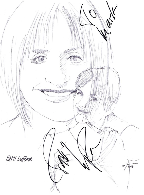 Autographed drawing of actress Patti LuPone