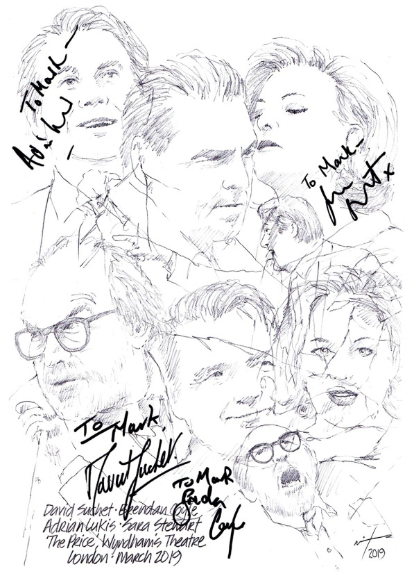 Autographed drawing of David Suchet, Brendan Coyle, Adrian Luke's and Sara Stewart in The Price at Wyndham's Theatre in London's West End