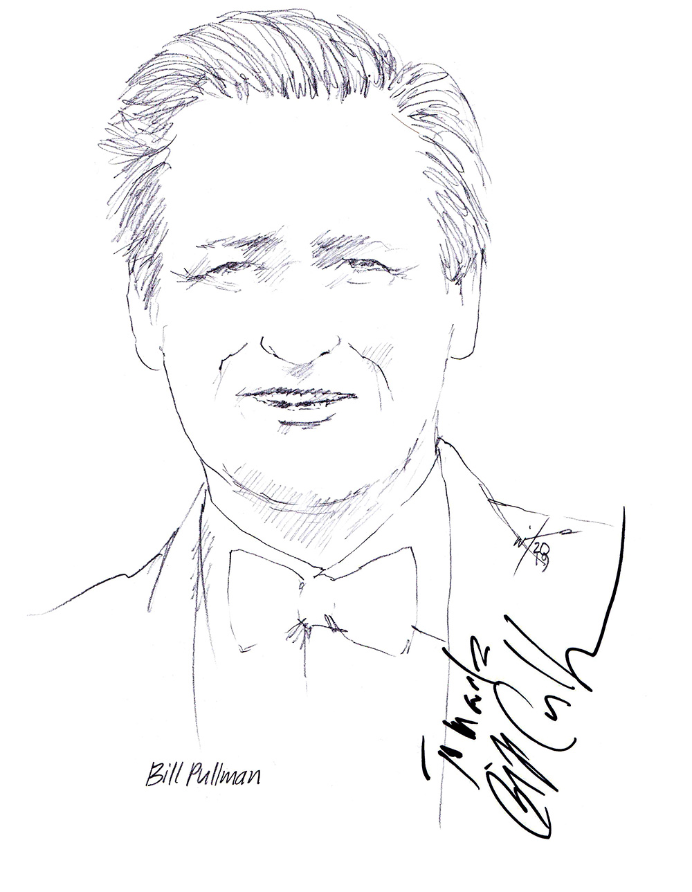 Autographed drawing of actor Bill Pullman