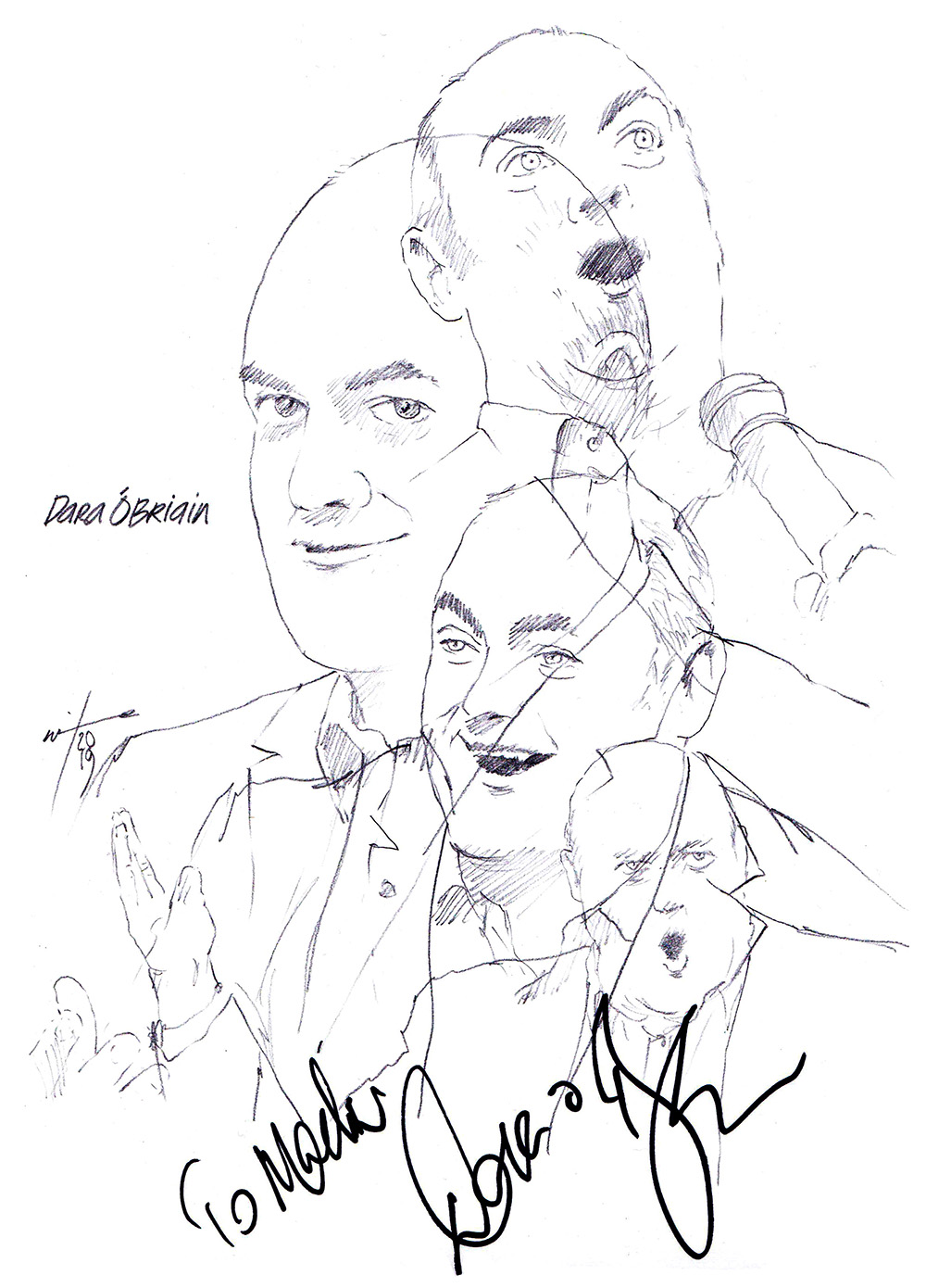 Autographed drawing of comedian Dara O'Briain
