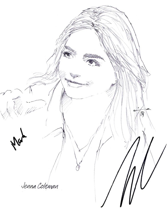 Autographed drawing of actor Jenna Coleman
