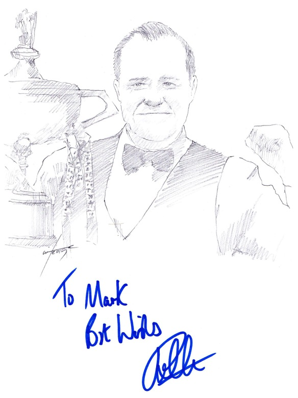 Autographed drawing of snooker player John Higgins