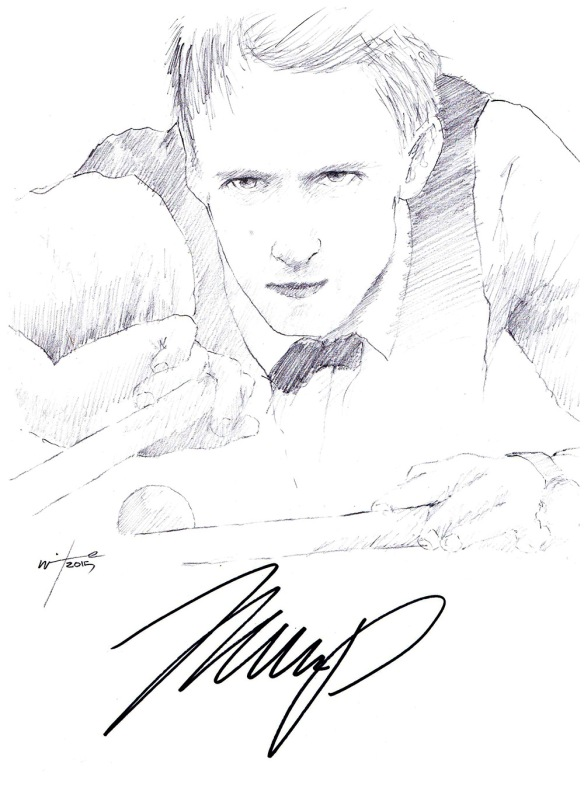 Autographed drawing of snooker player Judd Trump