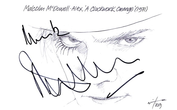 Autographed drawing of Malcolm McDowell in A Clockwork Orange