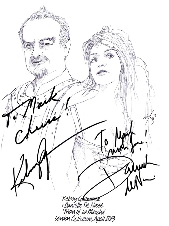 Autographed drawing of Kelsey Grammer and Danielle De Niese in Man of La Mancha at the London Coliseum