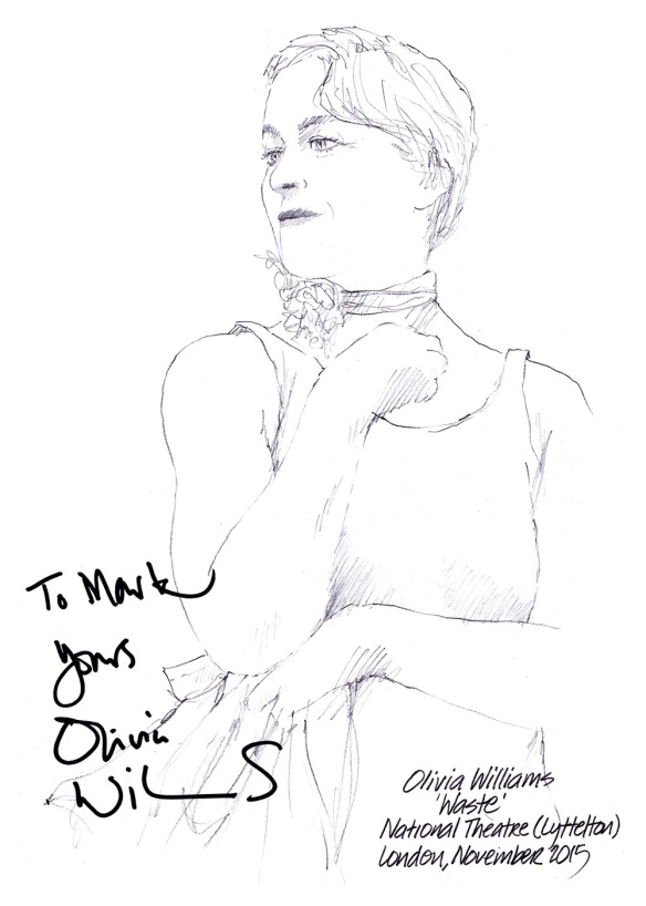 Autographed drawing of Olivia Williams in Waste at the National Theatre in London