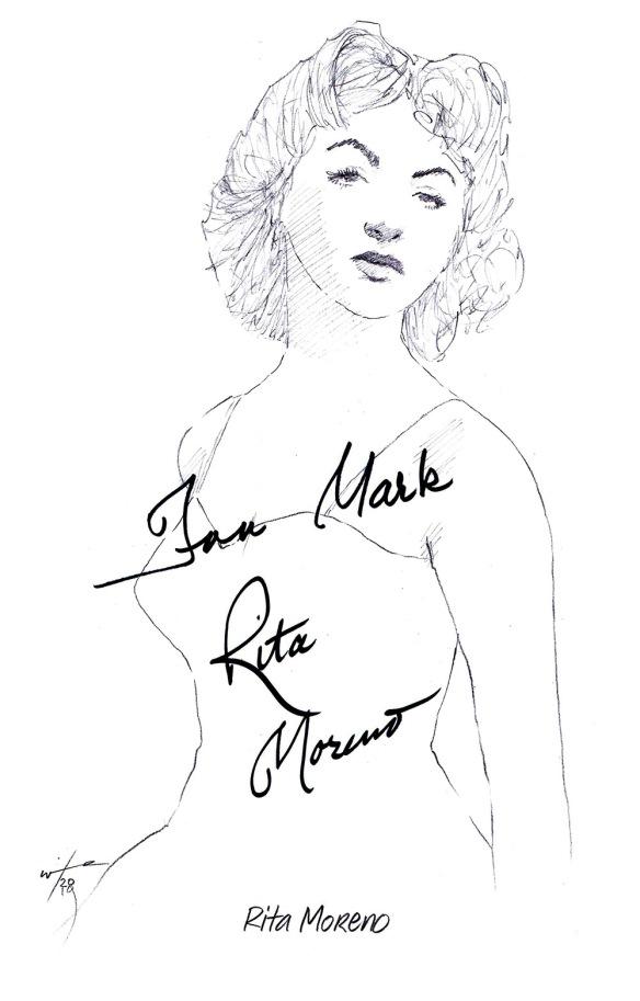 Autographed drawing of actress Rita Moreno