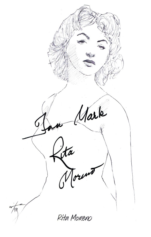Autographed drawing of actress Rita Moreno