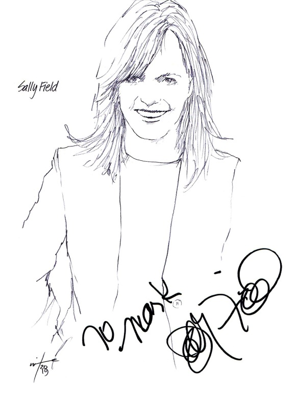 Autographed drawing of actor Sally Field