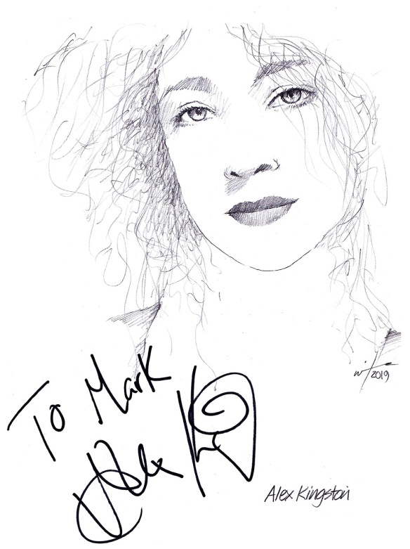 Autographed drawing of actress Alex Kingston