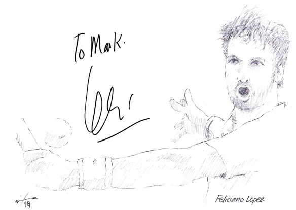 Autographed drawing of tennis player Feliciano Lopez