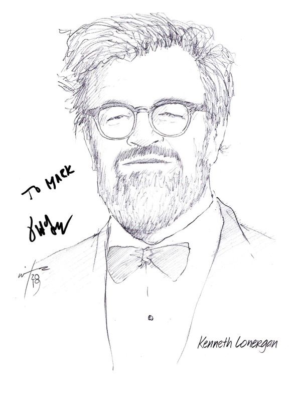 Autographed drawing of writer Kenneth Lonergan
