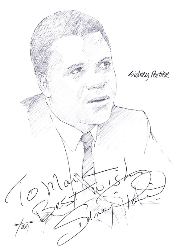 Autographed drawing of actor Sidney Poitier
