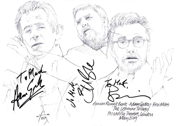Autographed drawing of Simon Russell Beale, Adam Godley and Ben Miles in The Lehman Trilogy at the Piccadilly Theatre on London's West End