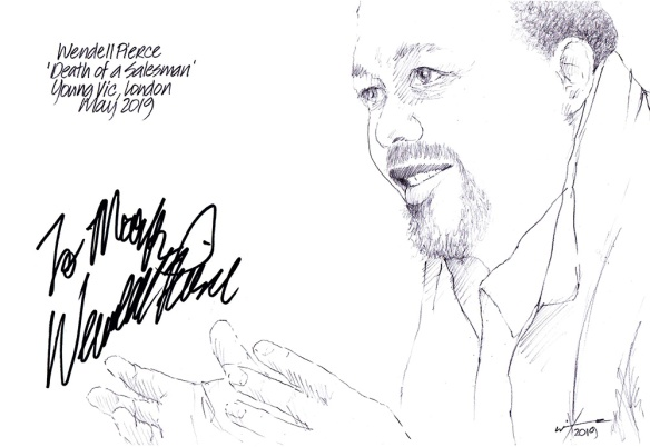 Autographed drawing of Wendell Pierce in Death of a Salesman at The Young Vic Theatre