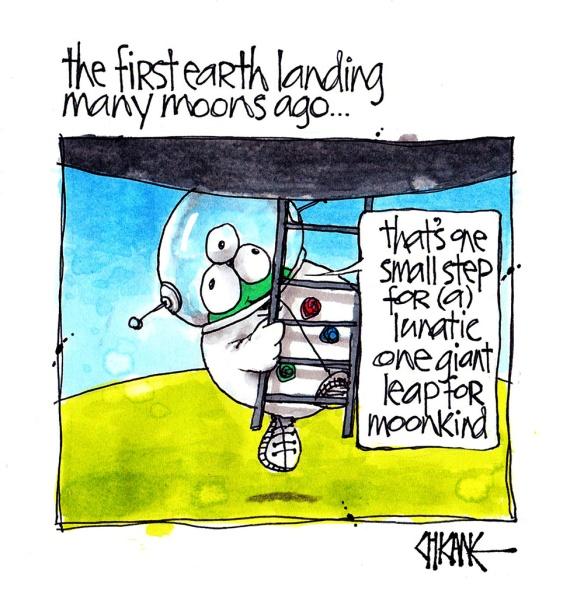Moon landing cartoon