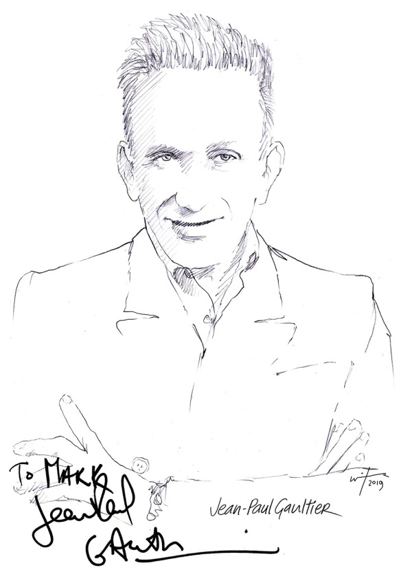 Autographed drawing of fashion designer Jean-Paul Gaultier