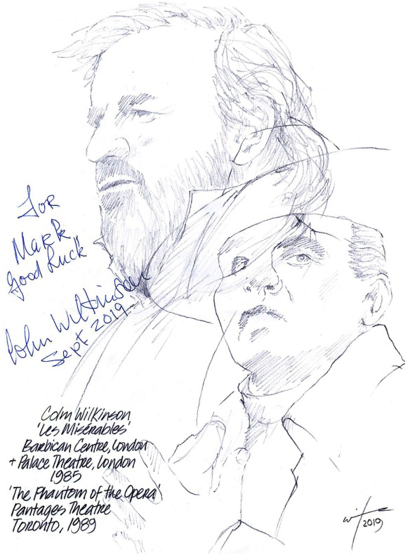 Autographed drawing of actor Colm Wilkinson in Les Miserables and The Phantom of the Opera