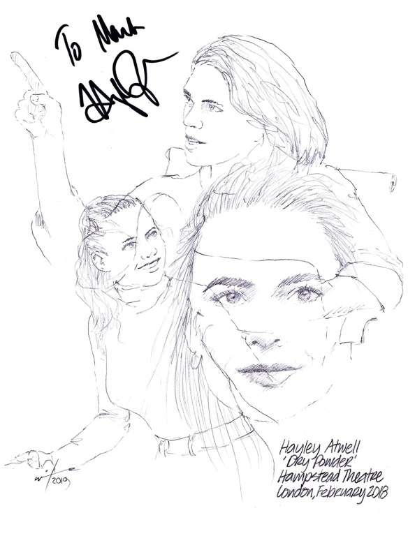 Autographed drawing of Hayley Atwell as Jenny in Dry Powder at the Hampstead Theatre in London