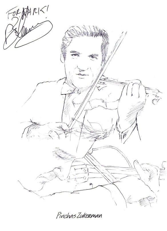 Autographed drawing of violinist Pinchas Zuckerman