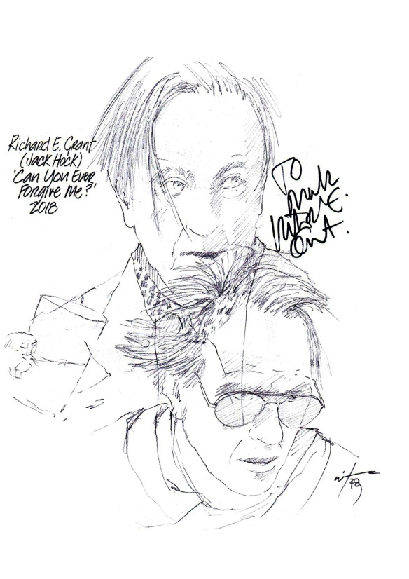 Autographed drawing of Richard E Grant as Jack Hock