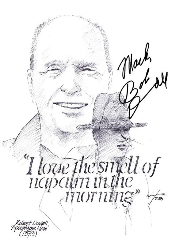 Autographed drawing of actor Robert Duvall
