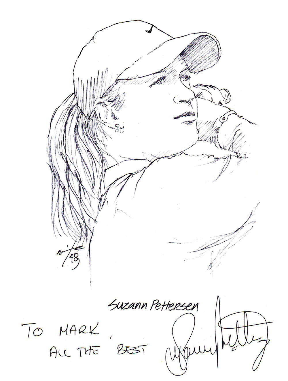 Autographed drawing of golfer Suzann Pettersen