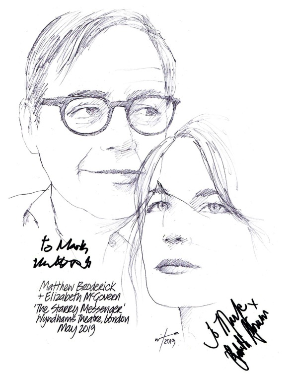 Autographed drawing of Matthew Broderick and Elizabeth McGovern in The Starry Messenger