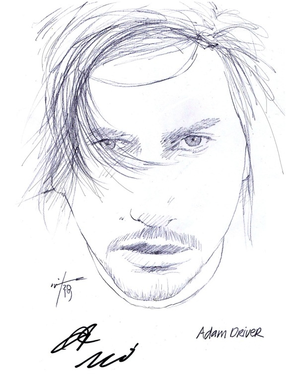 Autographed drawing of actor Adam Driver