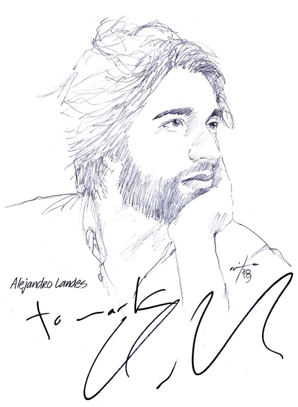Autographed drawing of director Alejandro Landes