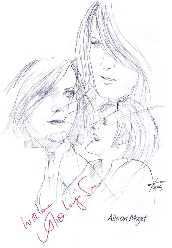 Autographed drawing of singer Alison Moyet